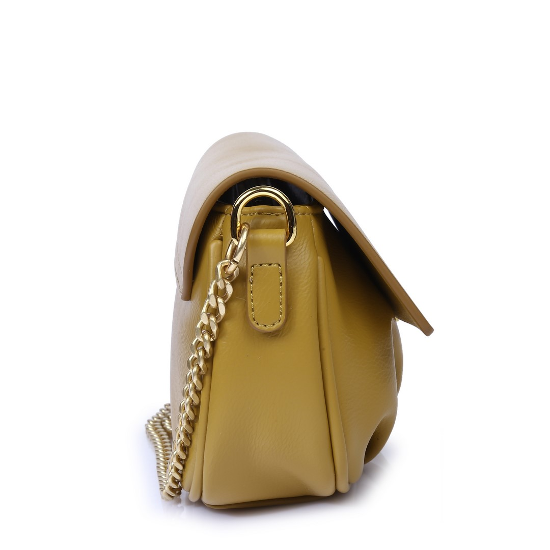 Túi Đeo Da Nhúng Nắp Gập M-15 Vàng