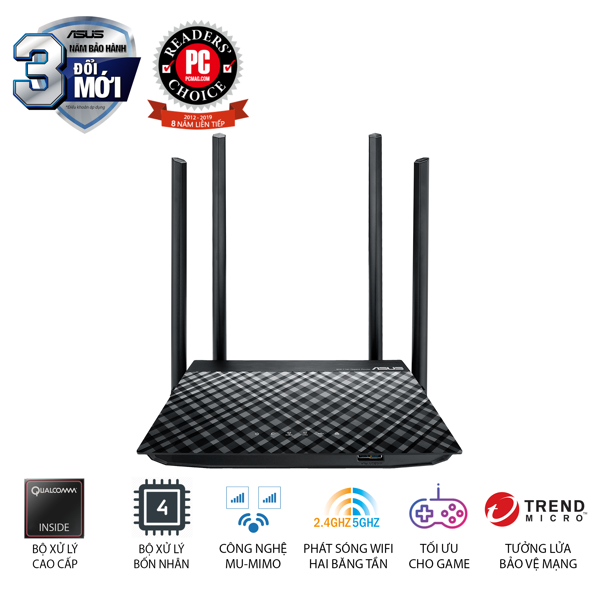 Router ASUS RT-AC1300UHP AC1300 MU-MIMO 2 Băng Tần 2.4GHz/5GHz