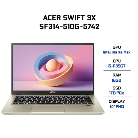 Laptop Acer Swift 3X SF314-510G-5742 (i5-1135G7 | 16GB | 1TB | Intel Iris Xe Max Graphics | 14' FHD | Win 10)