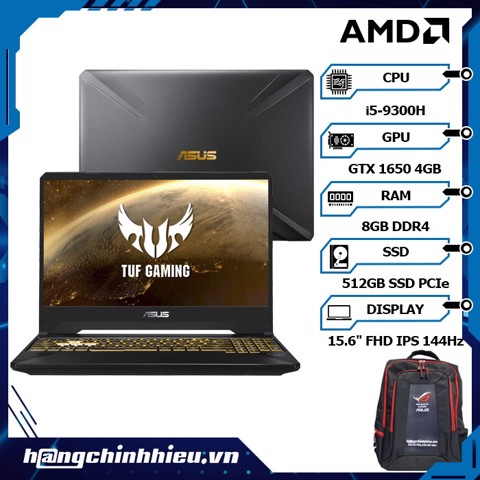 Laptop ASUS TUF Gaming FX505GT-HN111T (i5-9300H | 8GB | 512GB | VGA GTX 1650 4GB | 15.6'' FHD 144Hz | Win 10)