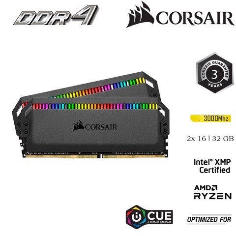 RAM PC Corsair DDR4, 3000MHz 32GB (2x16GB) DIMM DOMINATOR PLATINUM RGB LED CMT32GX4M2C3000C15