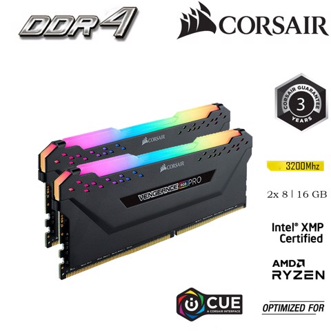 RAM PC Corsair DDR4, 3200MHz 16GB 2 x 288 DIMM Vengeance RGB PRO black Heat spreader RGB LED CMW16GX4M2E3200C16