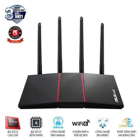 Router ASUS RT-AX55 Wifi 6 AX1800 2 băng tần