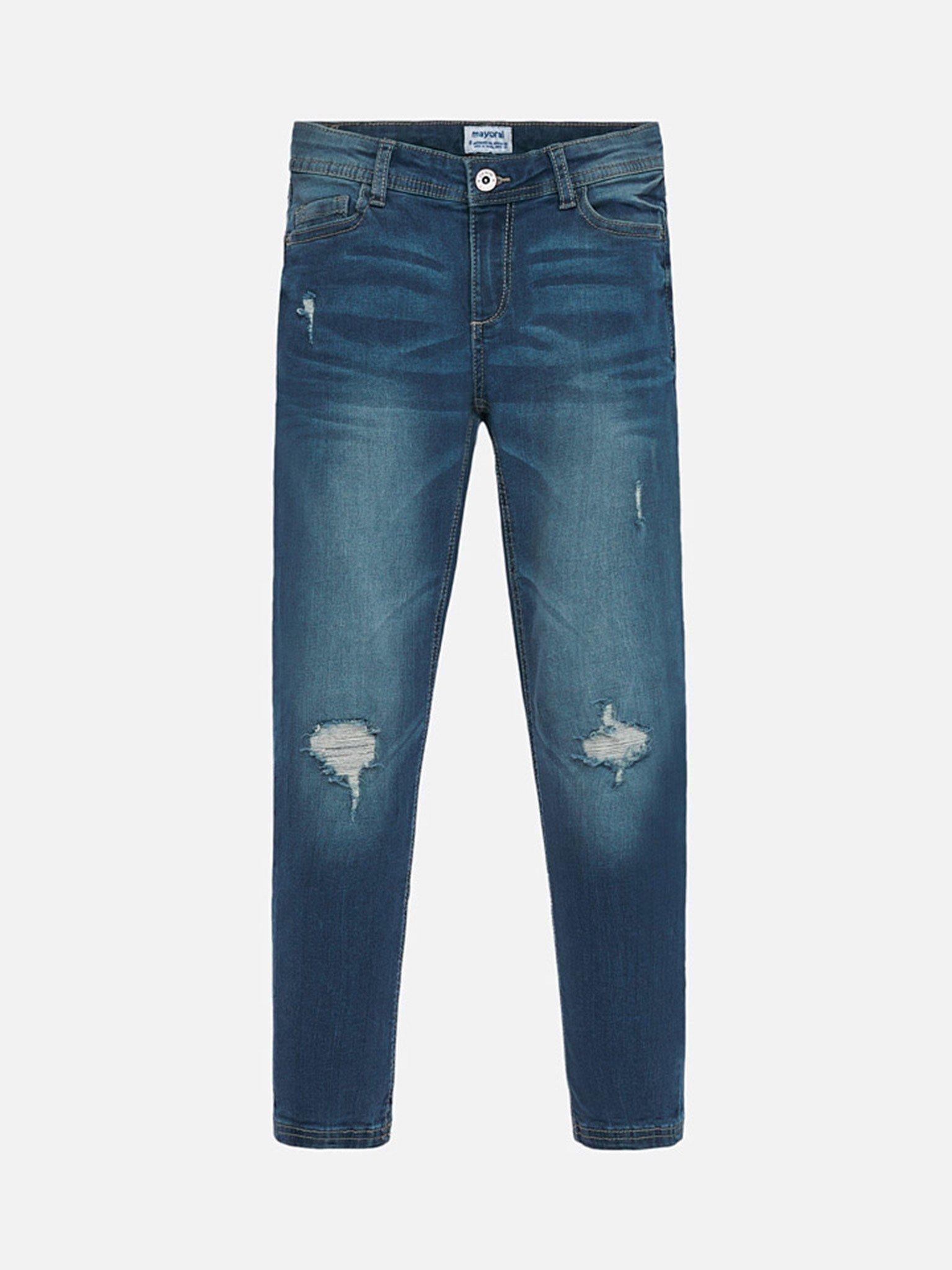 Quần jean màu xanh mài rách chỉ vàng - Mayoral