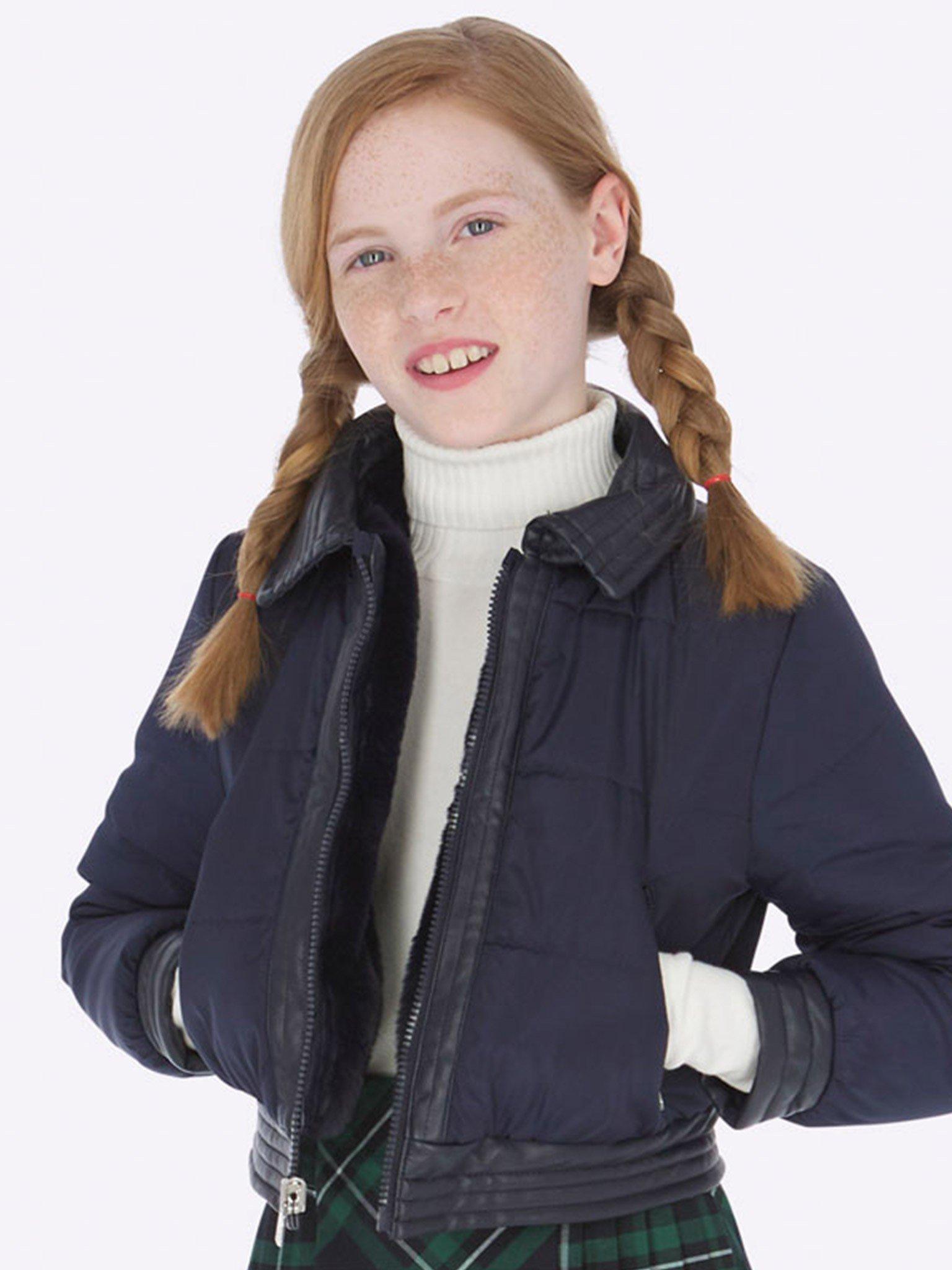 Áo phao bé gái màu navy viền da - Mayoral