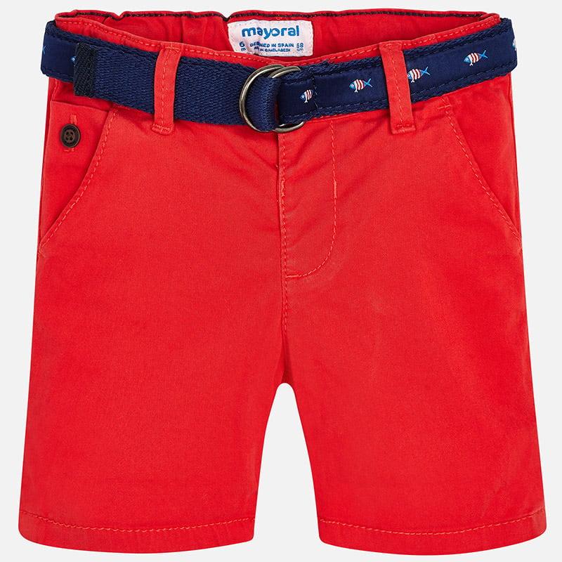 Quần short kaki bé trai đỏ kèm dây lưng