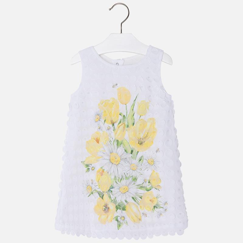 Váy bé gái ren trắng hoa vàng