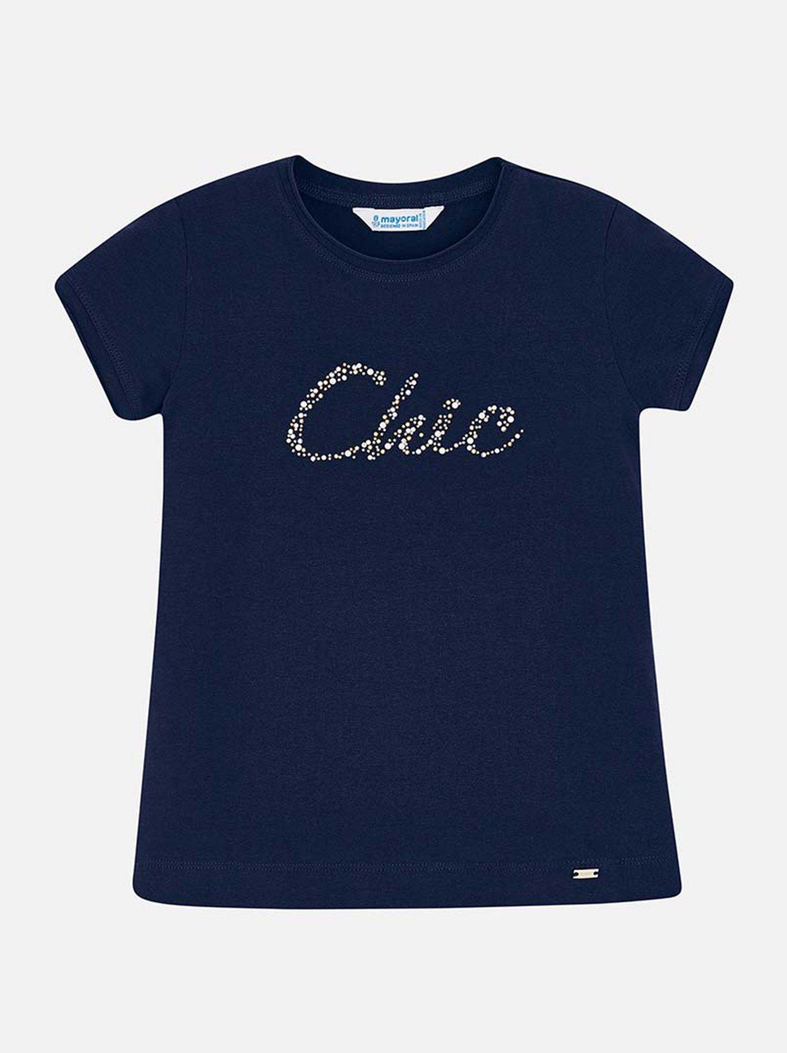 Áo phông bé gái navy chữ đính hạt