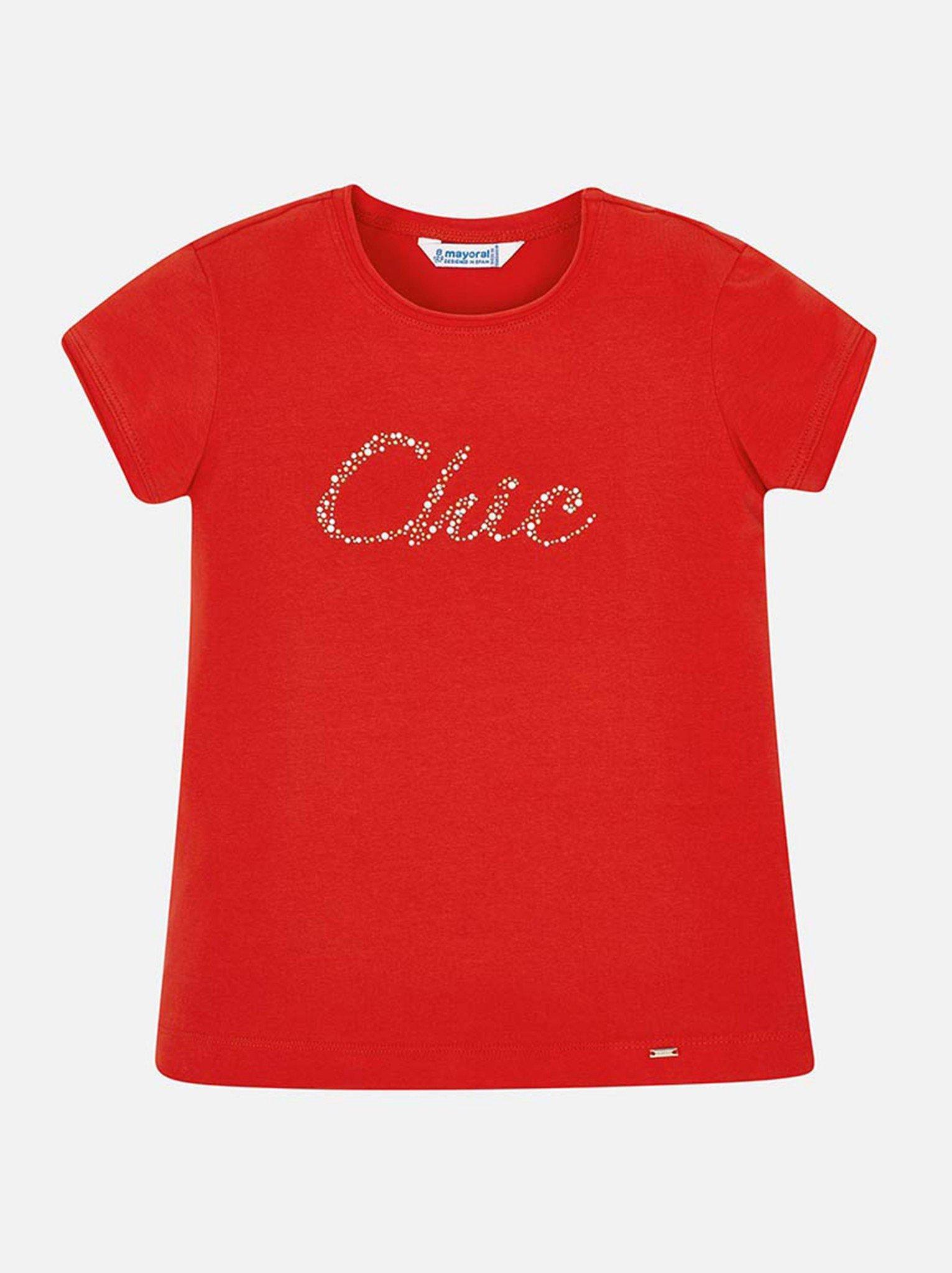Áo phông bé gái đỏ chữ đính hạt