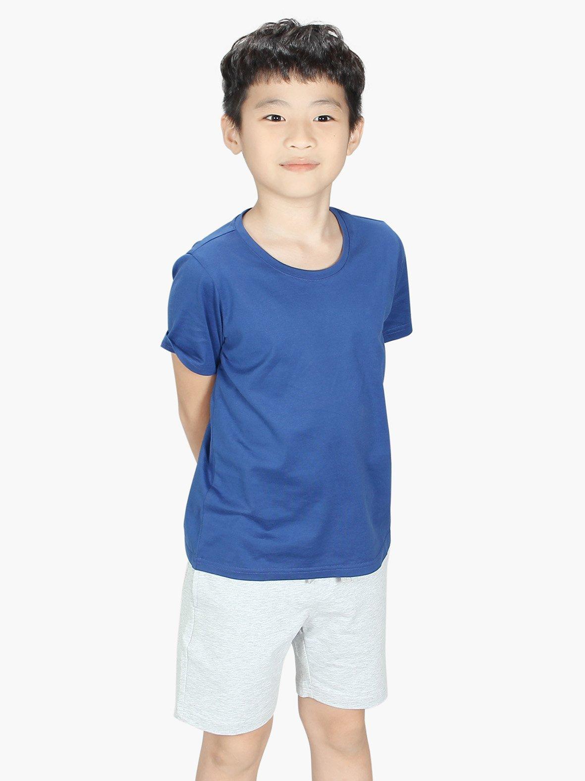Áo phông bé trai basic mầu xanh coban