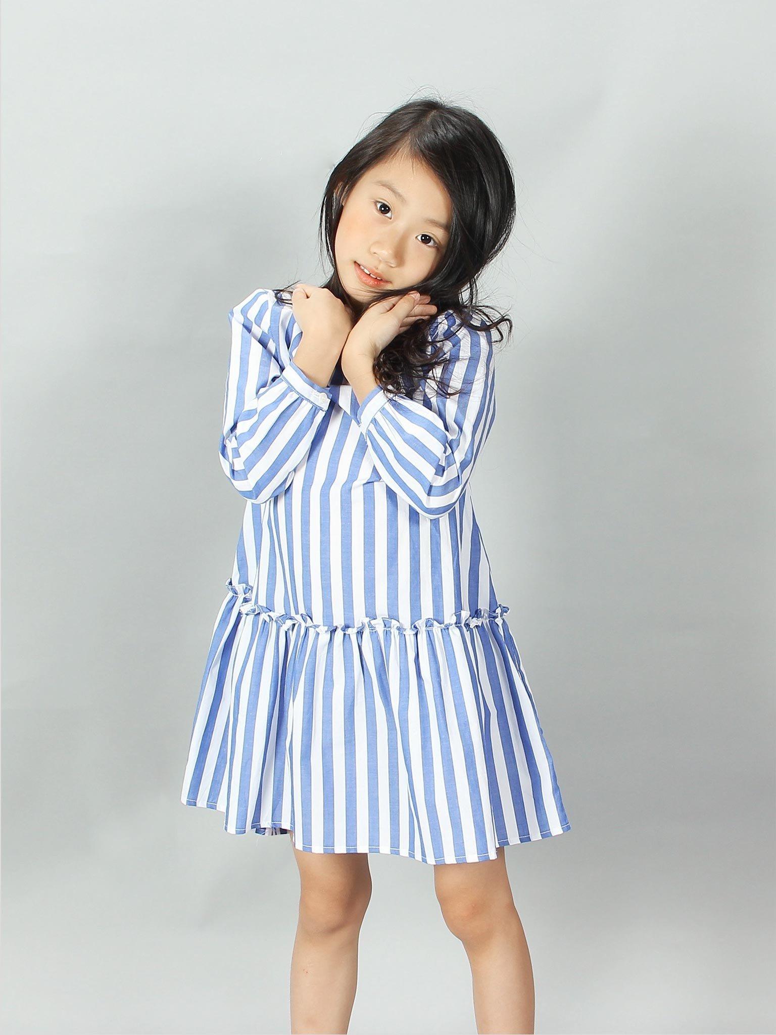 Váy dài tay kẻ sọc xanh trắng - Blue Seven