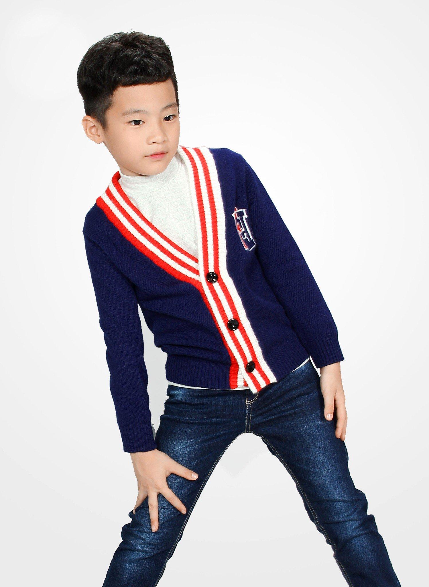 Áo khoác len bé trai xanh navy viền kẻ