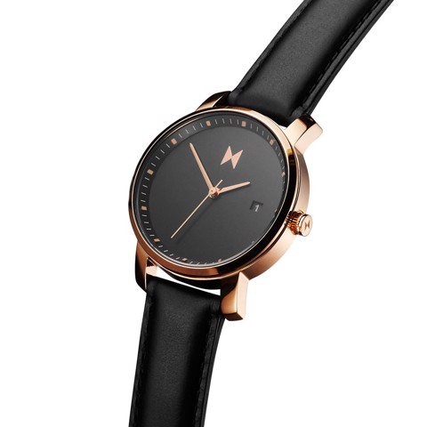 ROSE GOLD / BLACK LEATHER