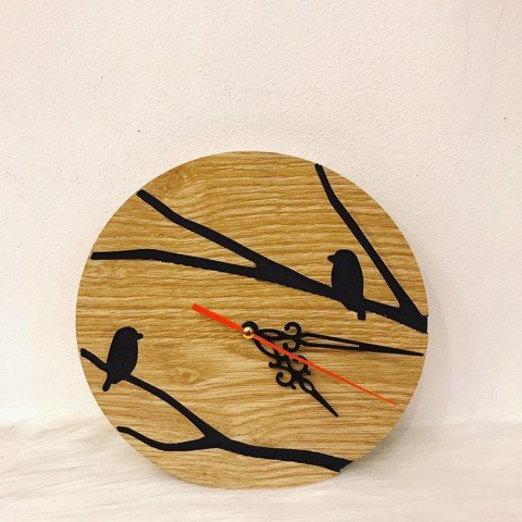Wooden clock- two bird
