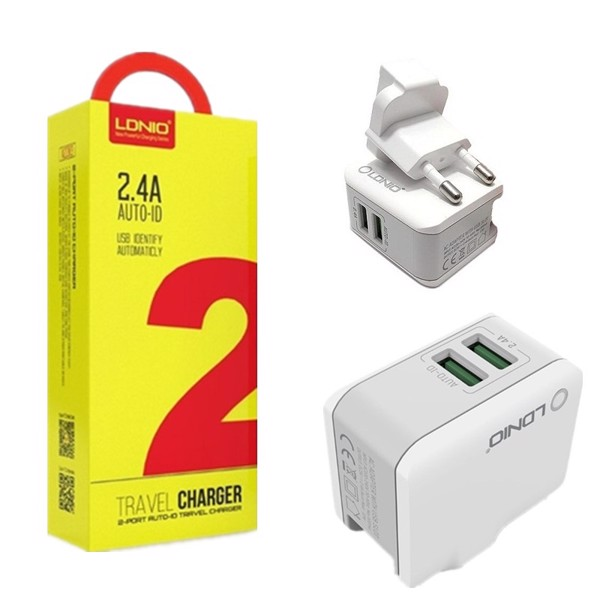 Combo 2 cổng 2.4A LDNIO (LD-A2203) Cáp IPhone / Samsung / Type C