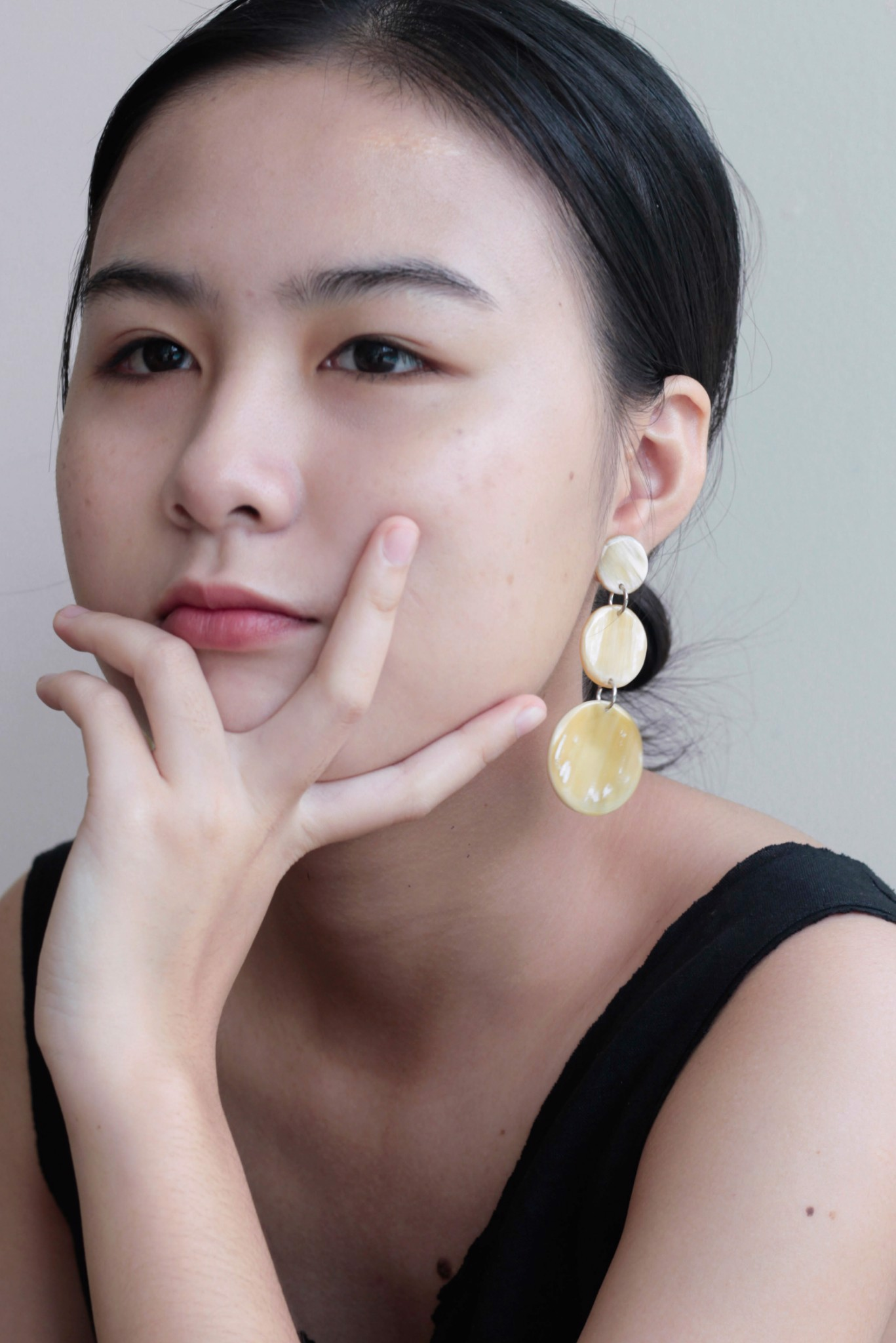 Three Circle Horn Earrings