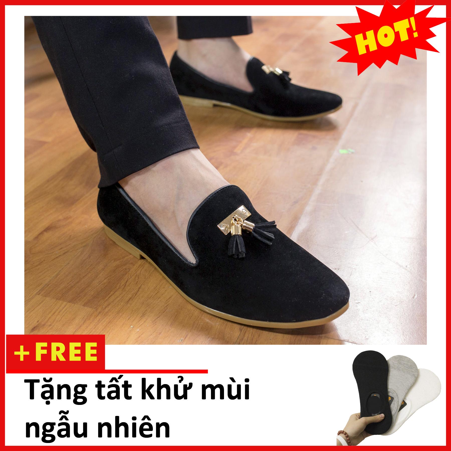 Giày Lười Nam Đẹp Đế Khâu Chuông Vàng Da Búc Màu Đen Sang Trọng - M124-BUCK-Tặng tất