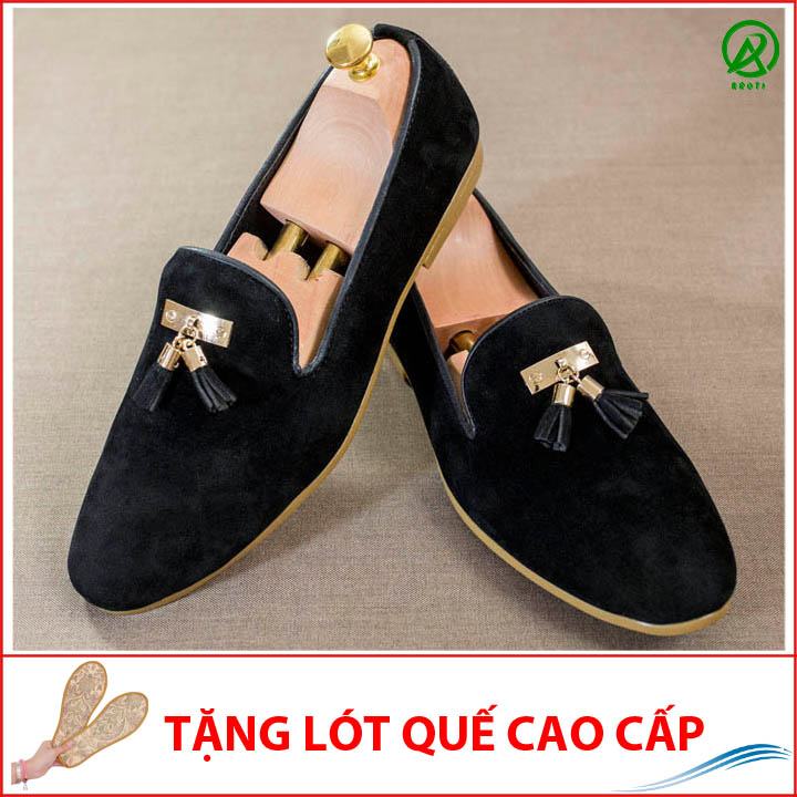 Giày Lười Nam Đẹp Đế Khâu Chuông Vàng Da Búc Màu Đen Sang Trọng -