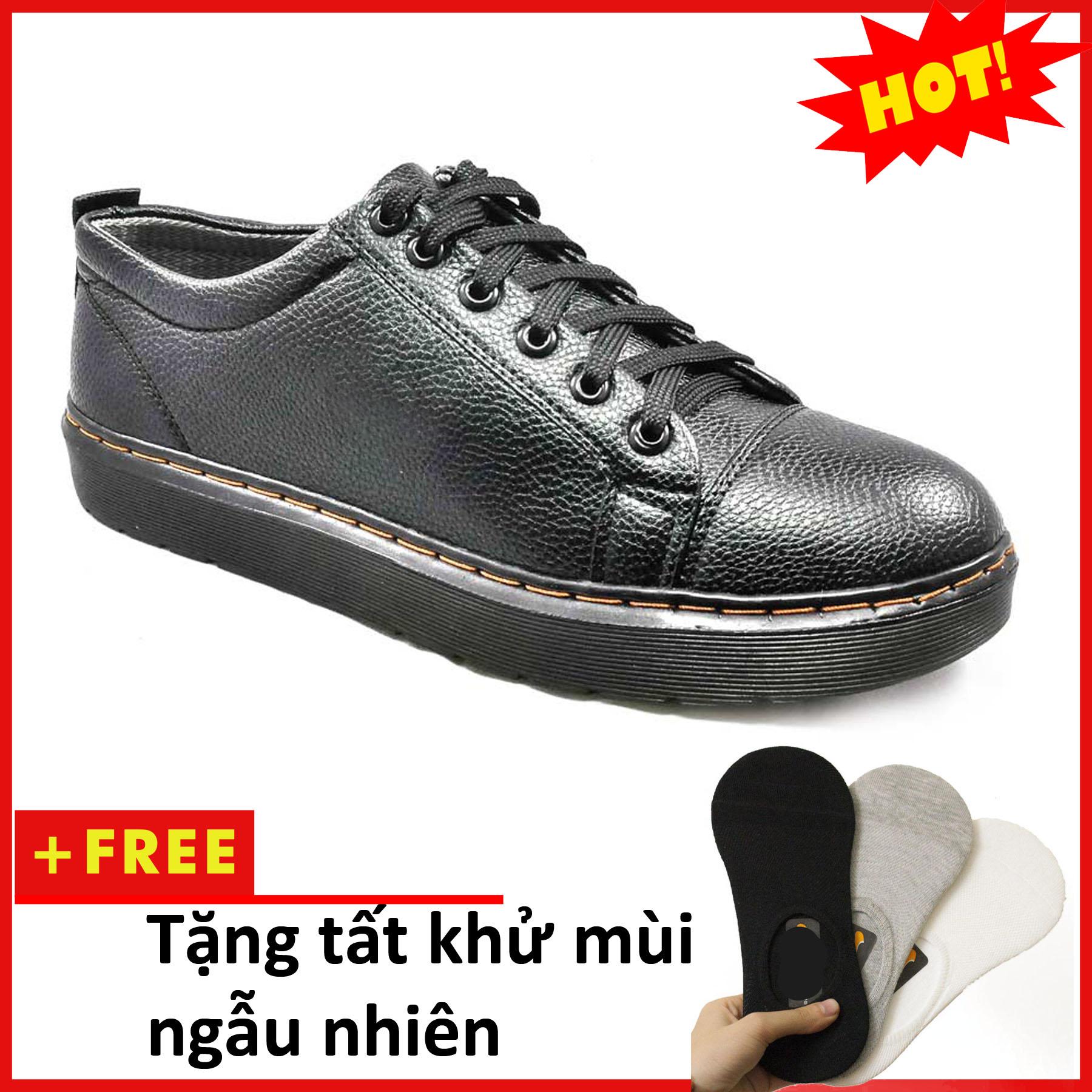 Giày Boot Nam Ngắn Cổ Màu Đen Đế Được Khâu Chắc Chắn - M90-Tặng tất khử mùi