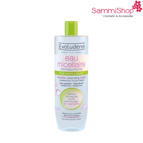 Evoluderm Micellar Cleansing Water Combinationto To Oily Skin 500ml ( Xanh Lá )