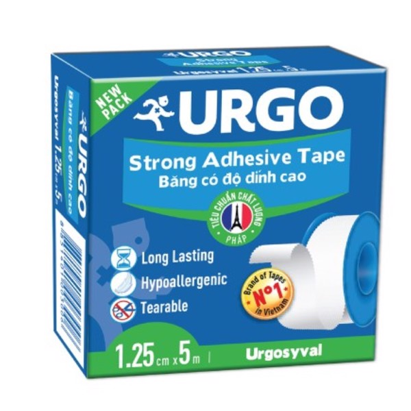 BĂNG KEO LỤA URGO SYVAL 1,25CM X 5M ( STRONG ADHESIVE TAPE )