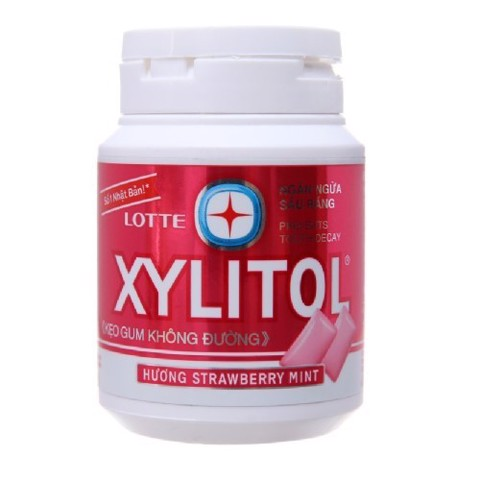 KẸO GUM XYLITOL STRAWBERRY MINT HỦ 58G
