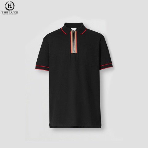 Polo Burberry Đen Check Cổ Zippy