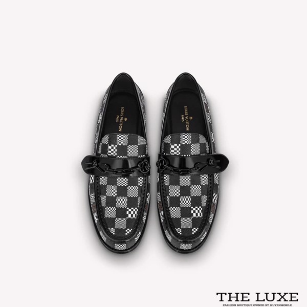 Loafer Louis Vuitton Major Damier Đen Trắng Tag Xích
