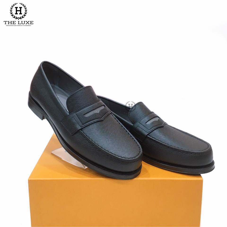 Loafer Louis Vuitton Shade Da Taiga Đen Ghi