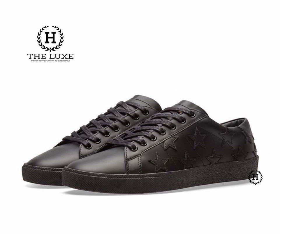Saint Laurent Black Leather Stars Court Classic Sneakers