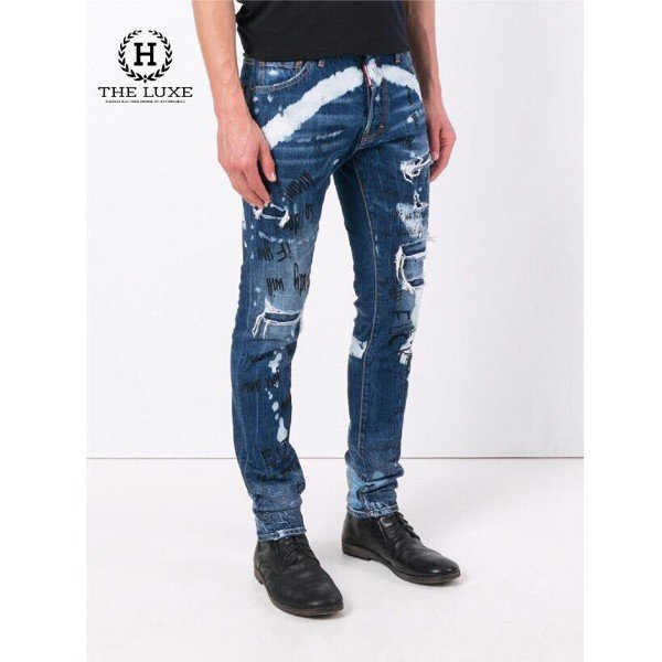 Jean Dsquared2 Distressed Graffiti Blue