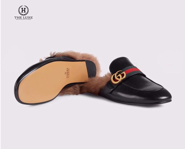 Princetown leather slipper with Double G