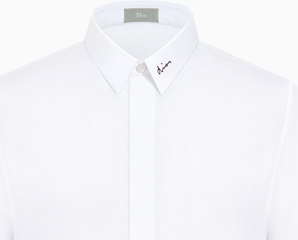 SHIRT WITH BLACK EMBROIDERY ON THE COLLAR, WHITE COTTON