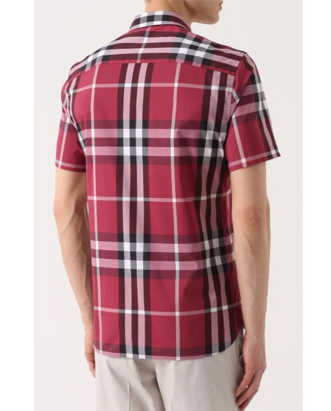 Short-sleeved Check Stretch Cotton Shirt Plum Pink
