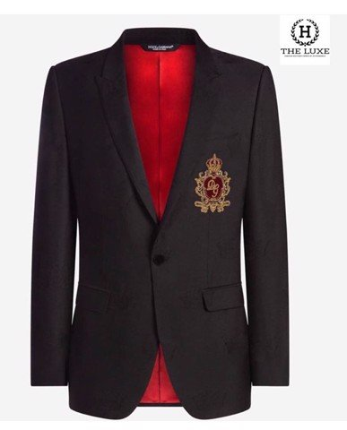 MARTINI BLAZER IN JACQUARD WOOL WITH PATCH DOLCE & GABBANA