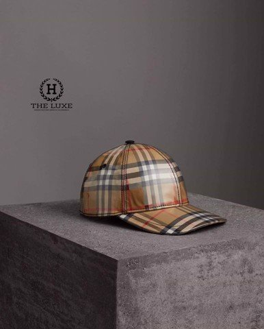 BURBERRY Laminated Vintage Check Baseball Cap