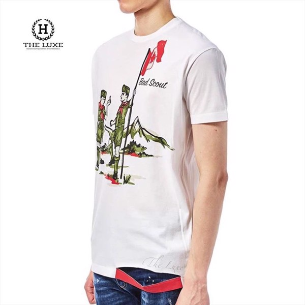 Tshirt DSQUARED2  trắng hoạ tiết Bad Scout