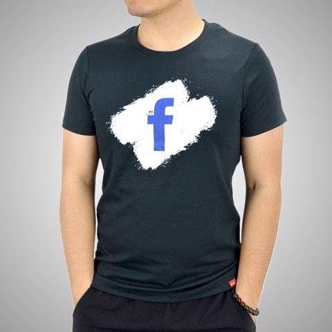 Áo T.shirt cotton Face Book  tím than - TSFB03