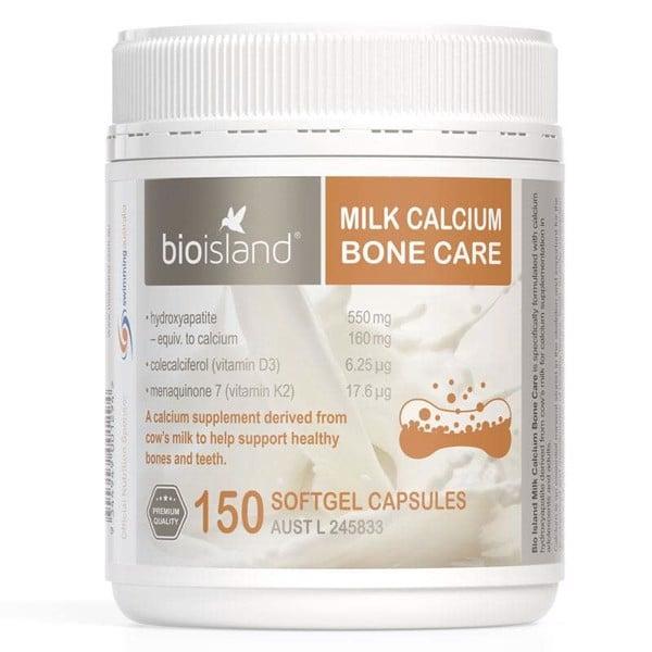 Bổ sung canxi hỗ trợ xương Bio Island Milk Calcium Bone Care 150 viên