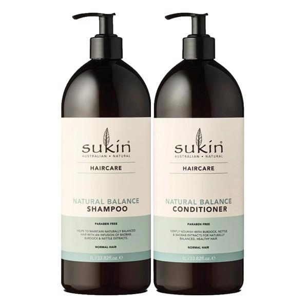 Combo Gội Xả Suôn Mượt Tóc Tự Nhiên Sukin Natural Balance Shampoo 1 lít & Dầu Xả Suôn Mượt Tóc Tự Nhiên 1 lít