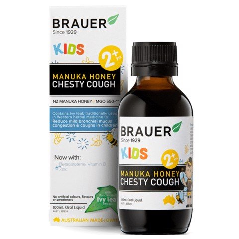 Siro trị ho có đờm Kids Brauer Manuka Honey Chesty Cough Úc 100ml