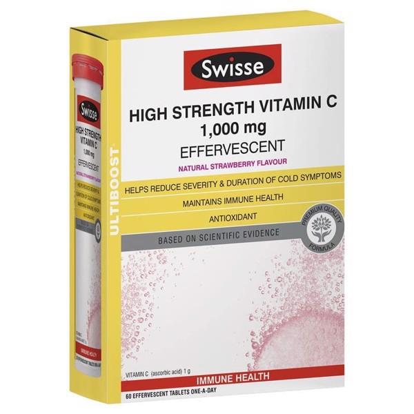 Viên sủi Vitamin C Swisse High Strength Vitamin C 1000mg Effervescent 60 viên