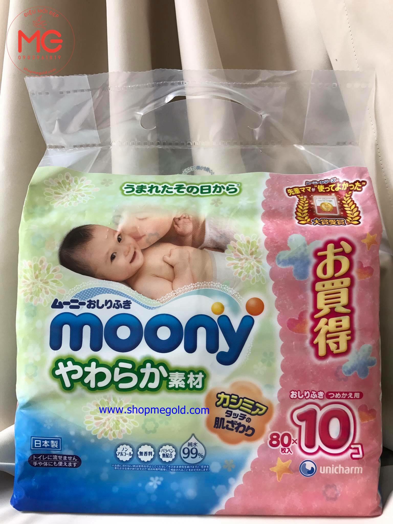 Khăn Giấy ướt Moony Nhật Túi 10 Gói Shopmegold