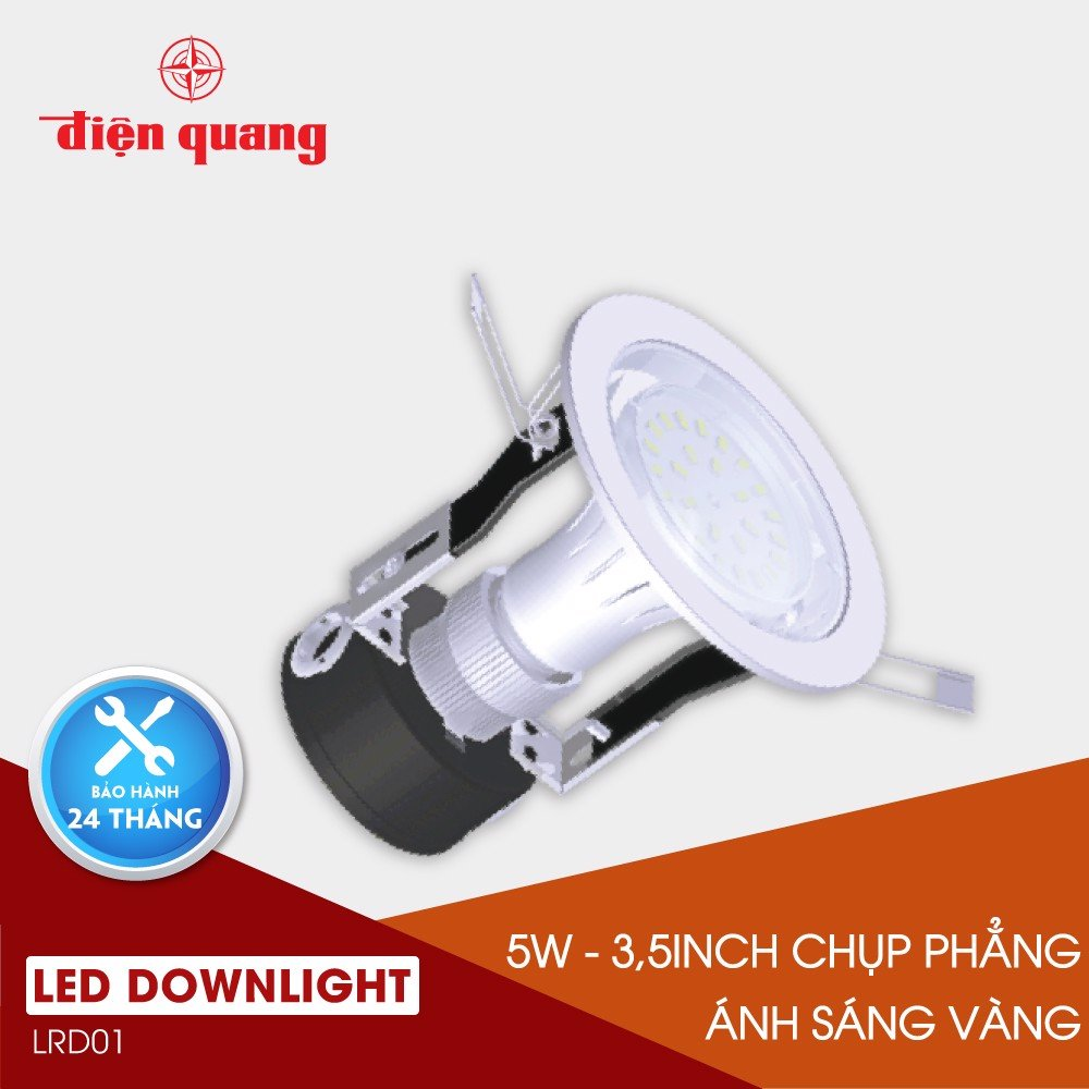 LED Downlight 5W warmwhite 3.5 inch chụp phẳng trong LRD01