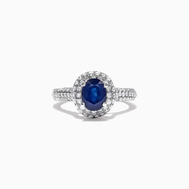 White Gold Blue Sapphire Diamond Ring