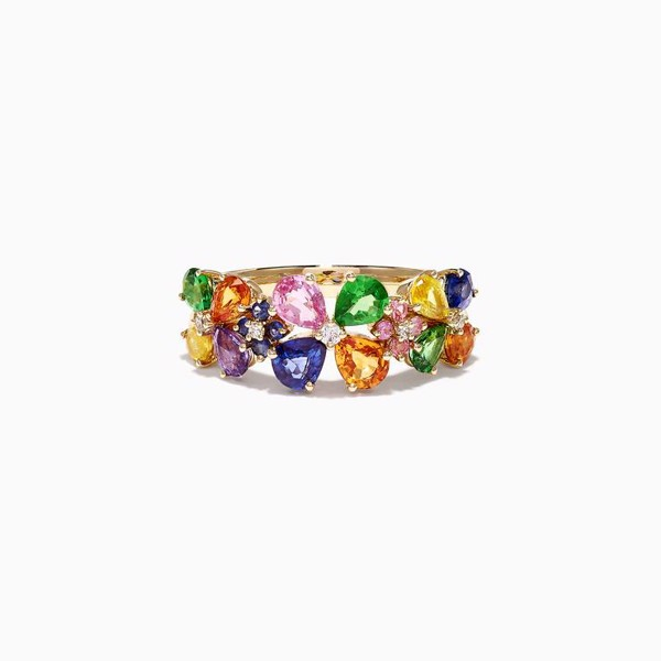 Yellow Gold Multi Sapphire & Diamond Ring
