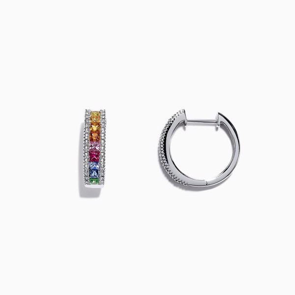 White Gold Sapphire & Diamond Hoop Earrings