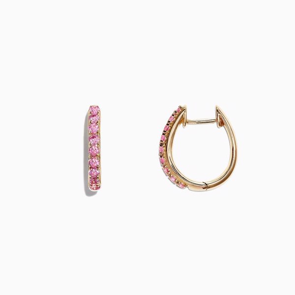 Yellow Gold Pink Sapphire Huggie Hoops Earrings
