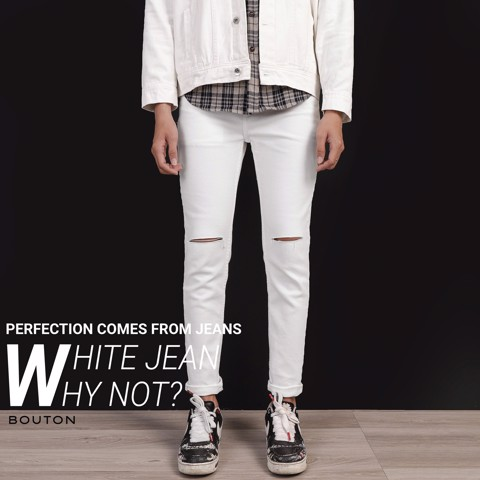 Quần jeans BOUTON White ripped Skinny