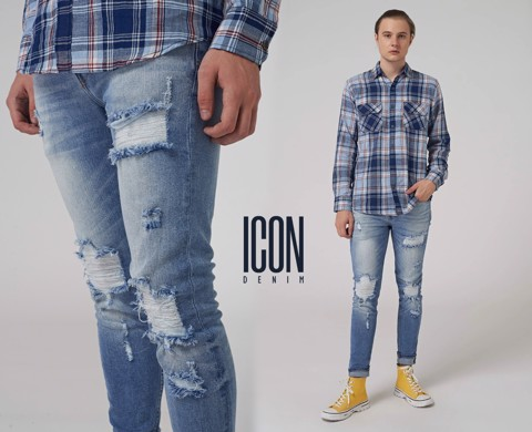 Quần jean ICON DENIM ripped slim fit